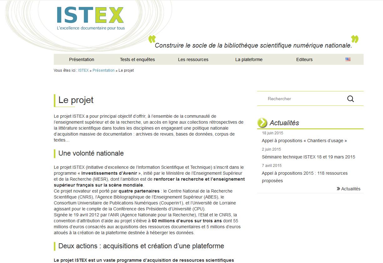 istex - copie d'écran