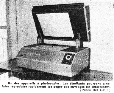 Photo extraite d'un article du Patriote (08/10/1964) commentant l'ouverture de la BU Sciences.
