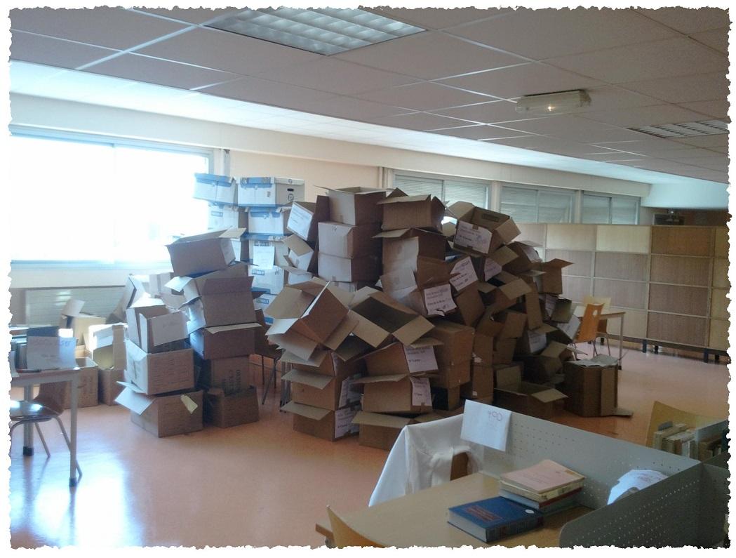 Une infime partie des cartons vidés pendant le déménagement